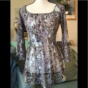 Jordache light blue/grey shiny blouse size 3/5
